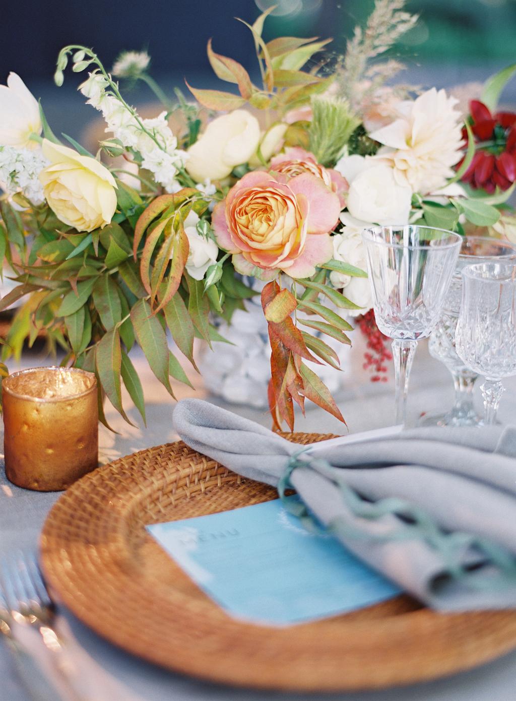 film photograph of wedding centerpeice by shotgun florals