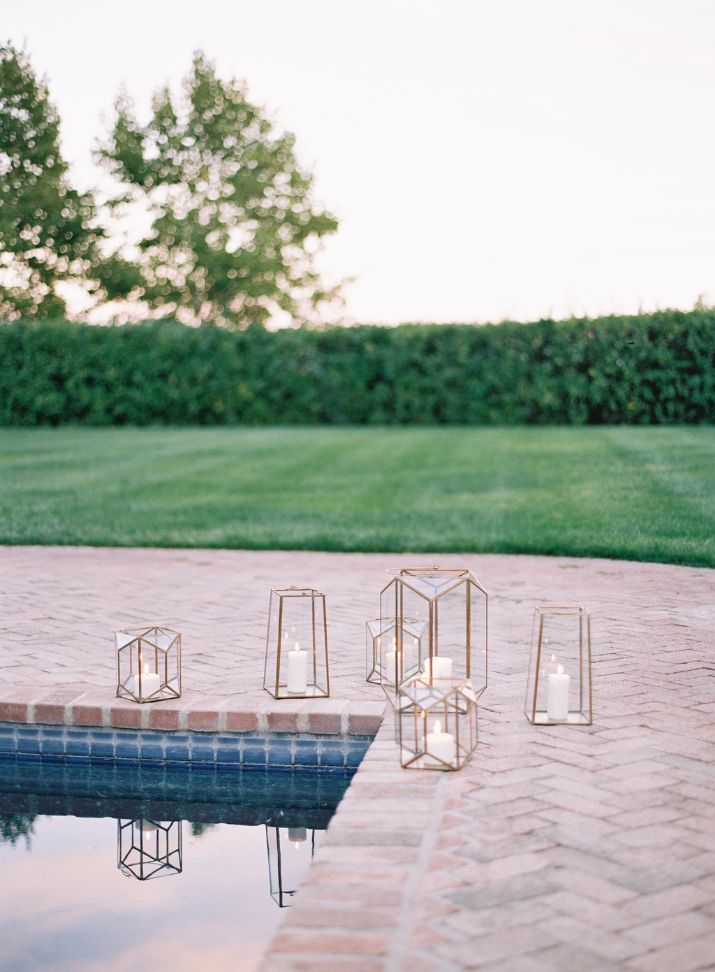geometric candle votives at a wedding in Napa