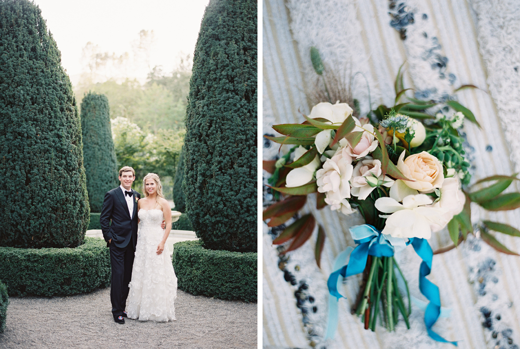 bride and groom portraits on film in bealieu gardens and a photo of a bouquet by shotgon floral studio