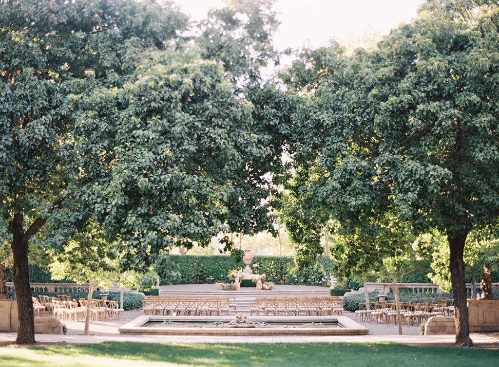 the gorgeous ceremony area at beaulieu gardens in Napa shot by a film photographer