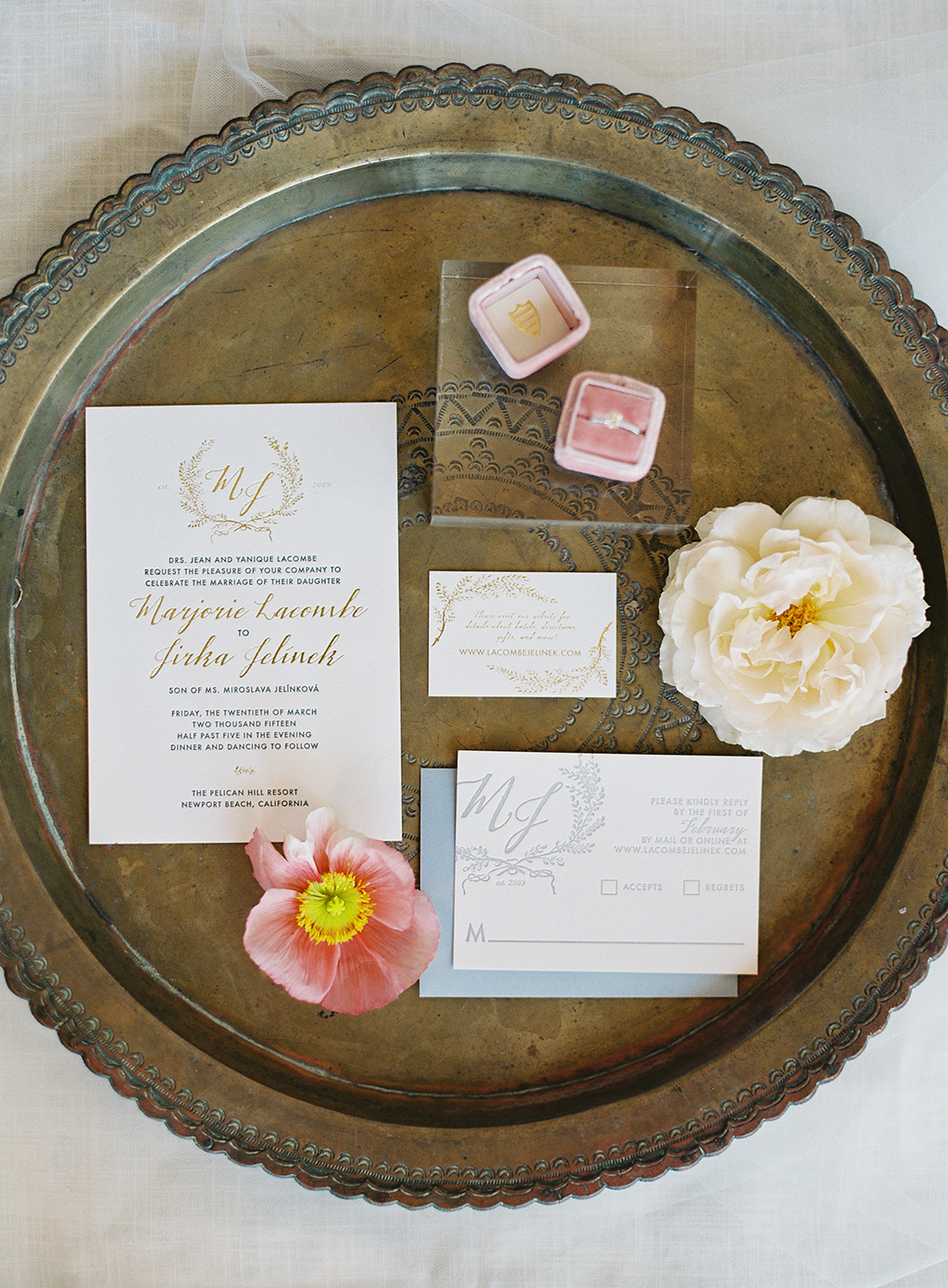 a film photo of an invitation suite from a southern california wedding