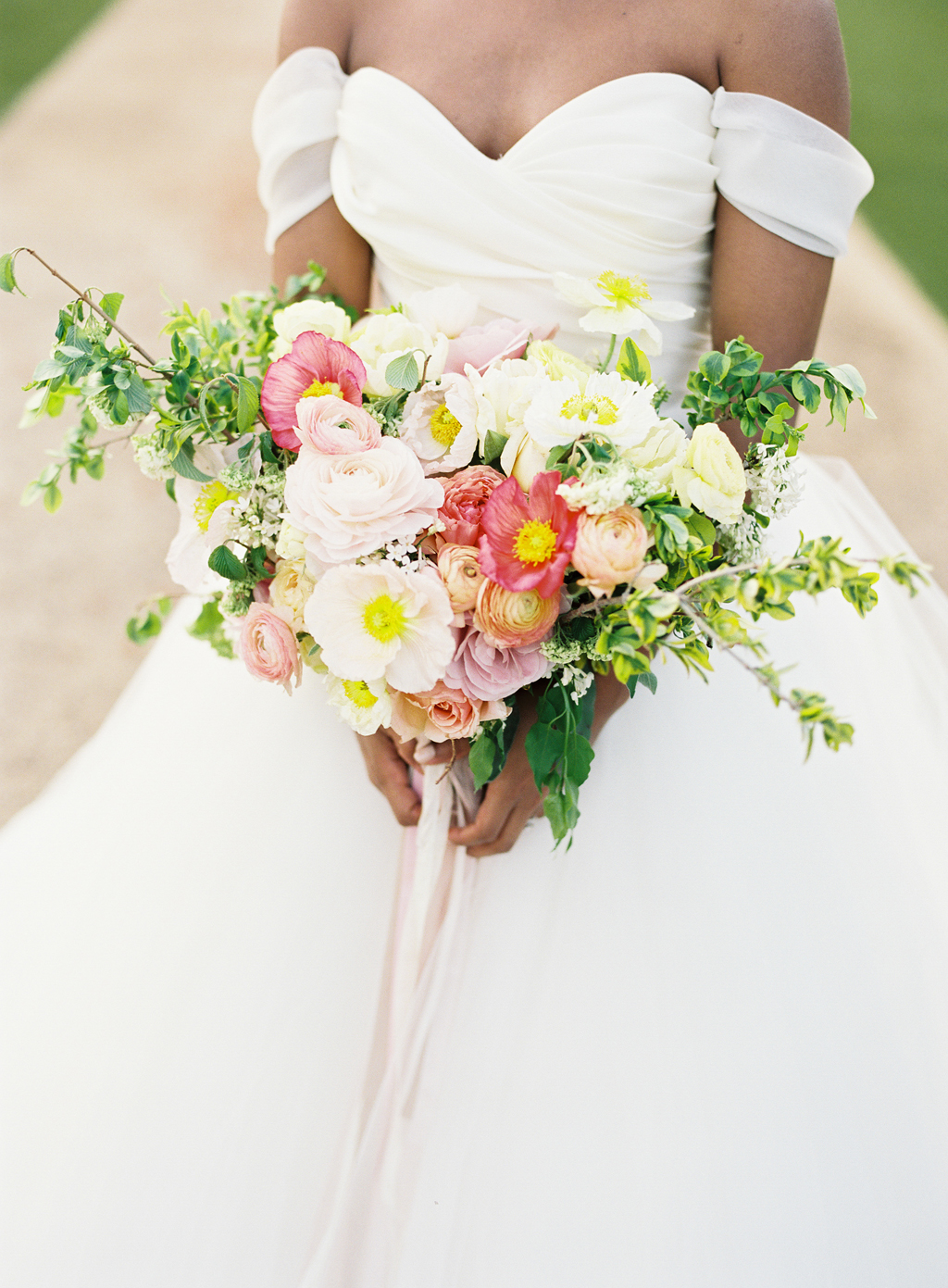 a film photo of a gorgeous spring colored bouquet by art with nature in California.