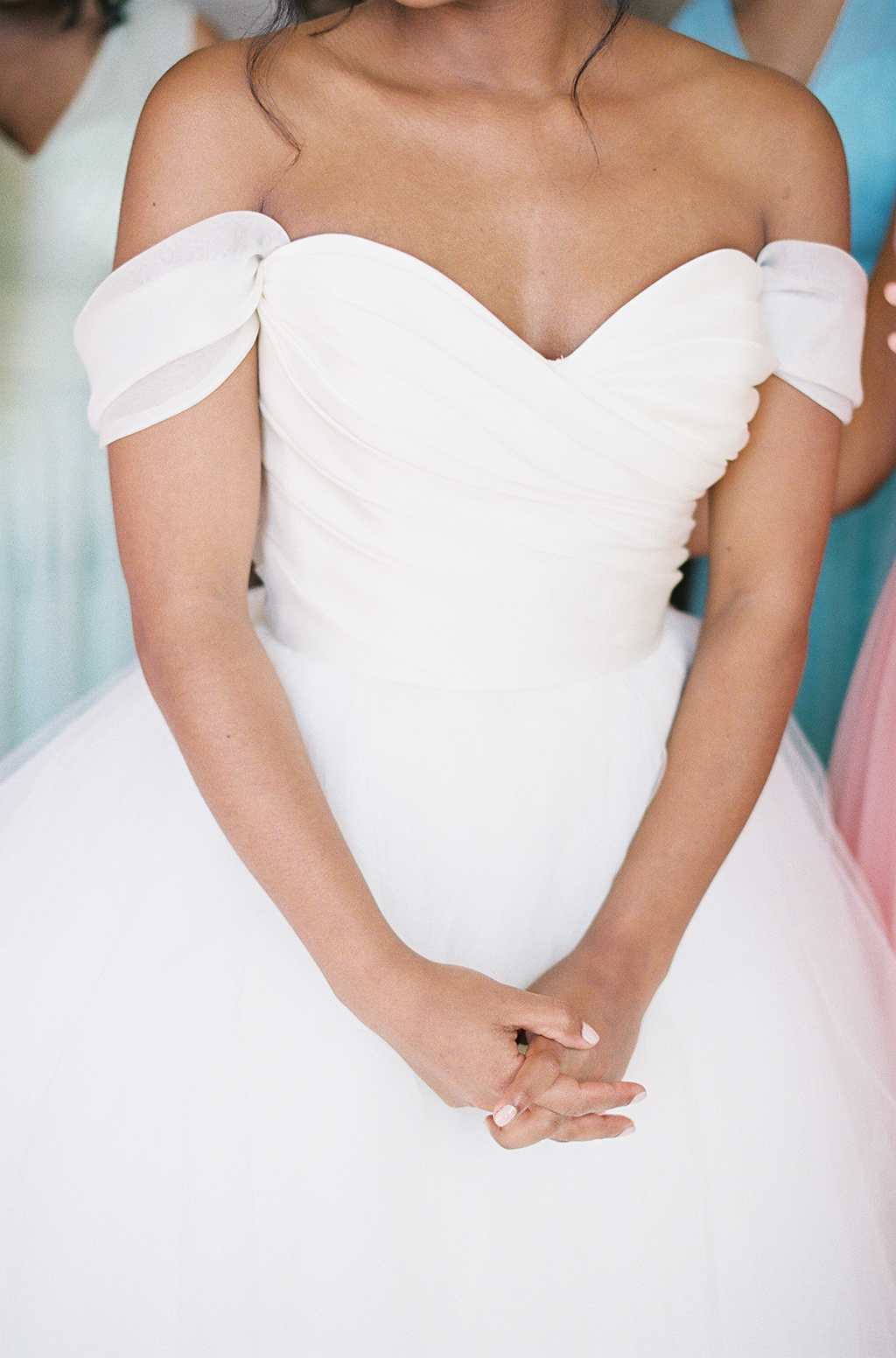 film photograph of a lazaro bridal gown at a wedding in california