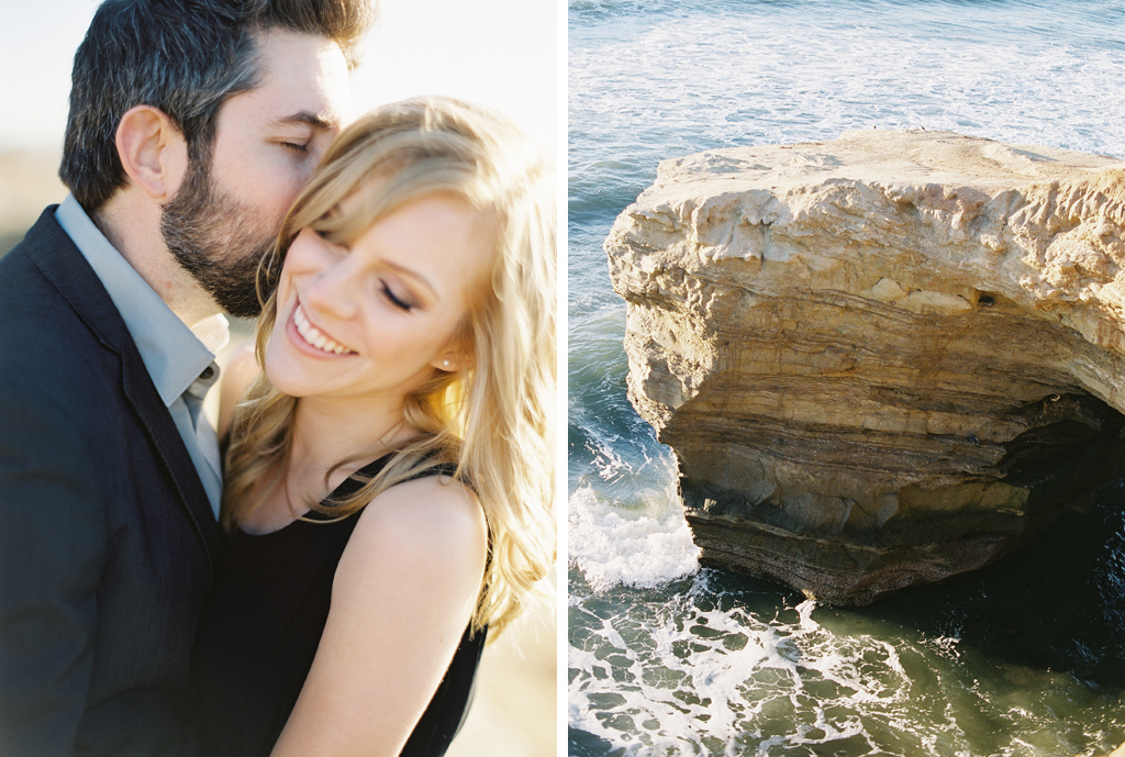 a newly engaged couple poses along the california coast with their film photographer.