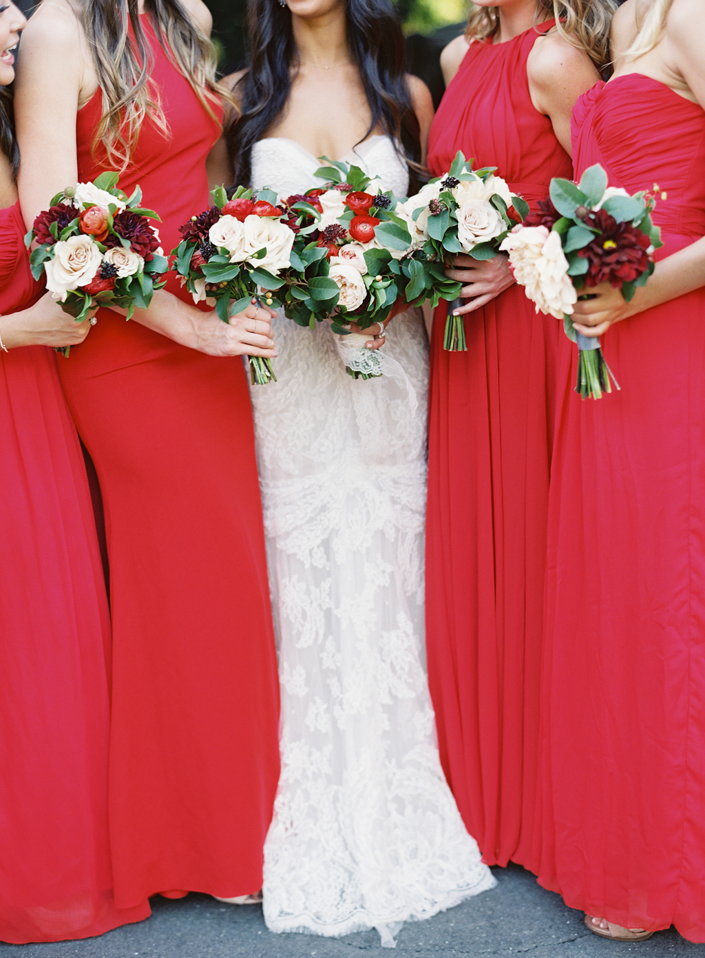 A film photograph of a bride and her bridesmaids at a wedding in Napa Valley.