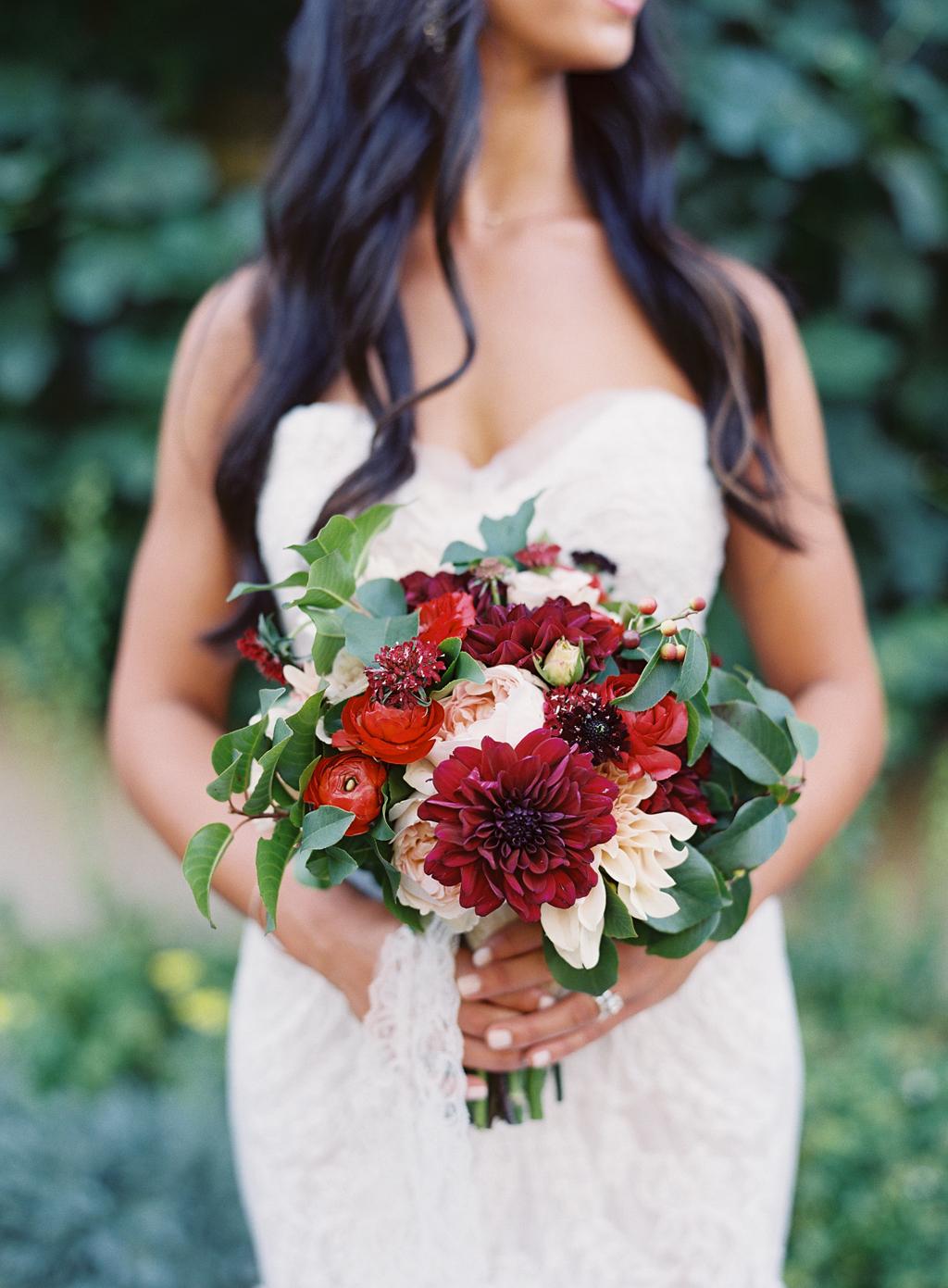 a wedding bouquet shot on film.
