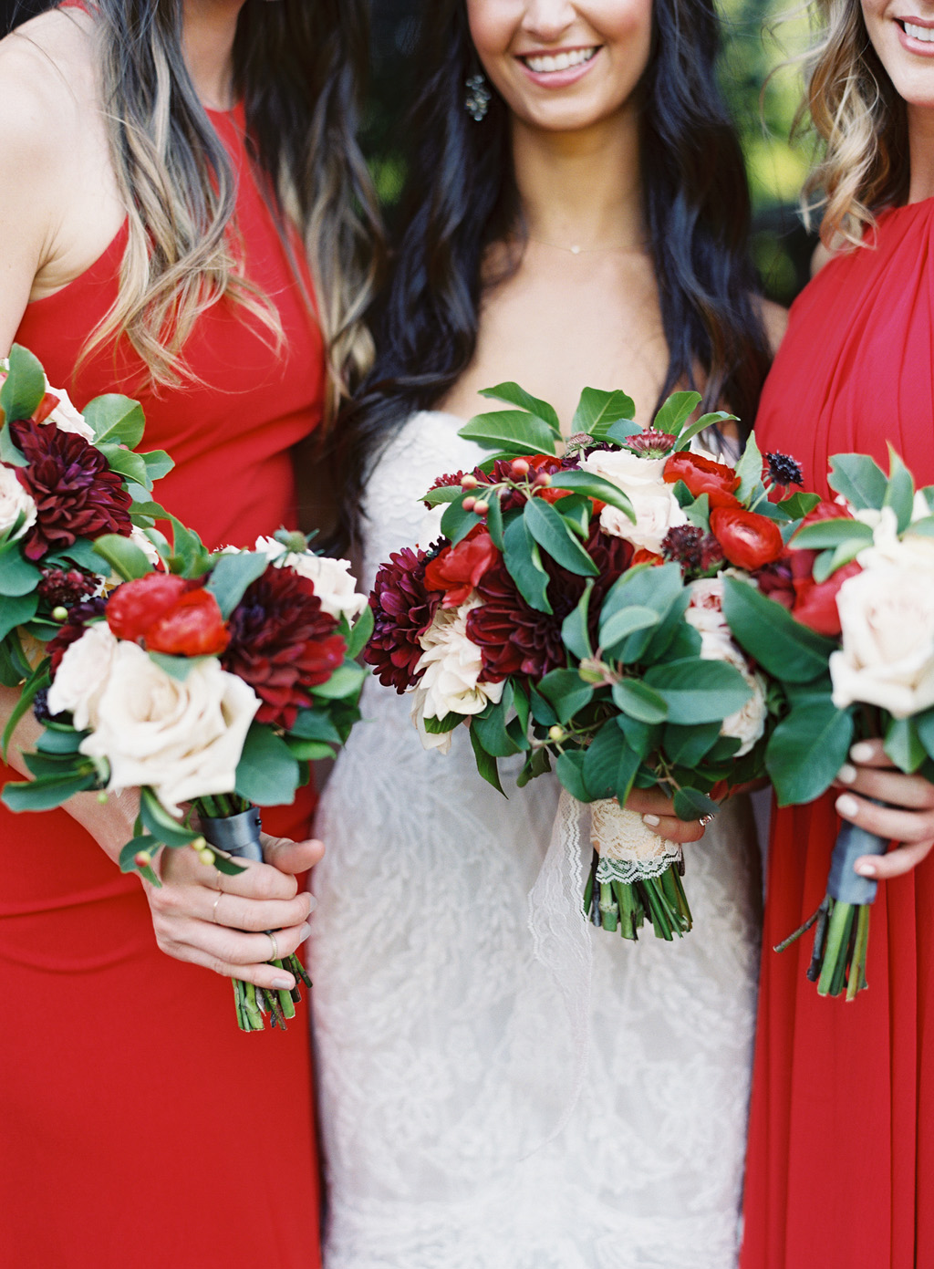wedding bouquets shot by a Napa wedding photographer on film.
