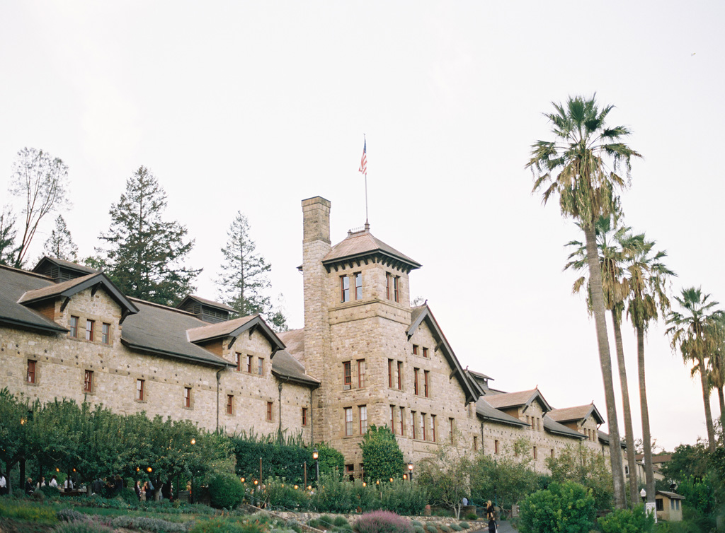 a film photograph of the culinary institute of america in napa valley, california wine country.