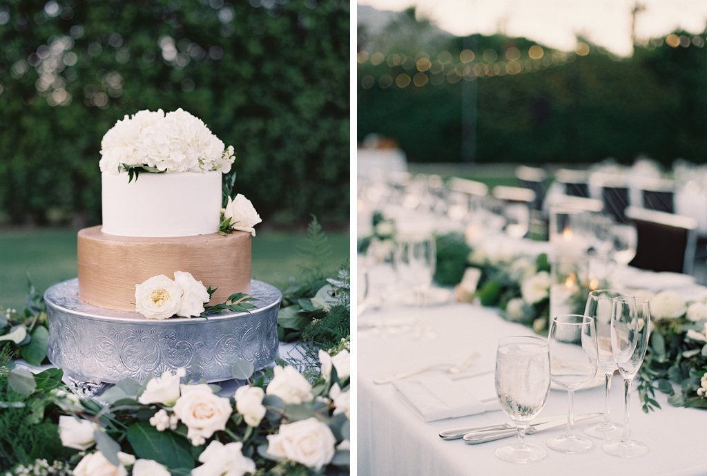 a wedding cake and table photo from a wedding in Southern California.