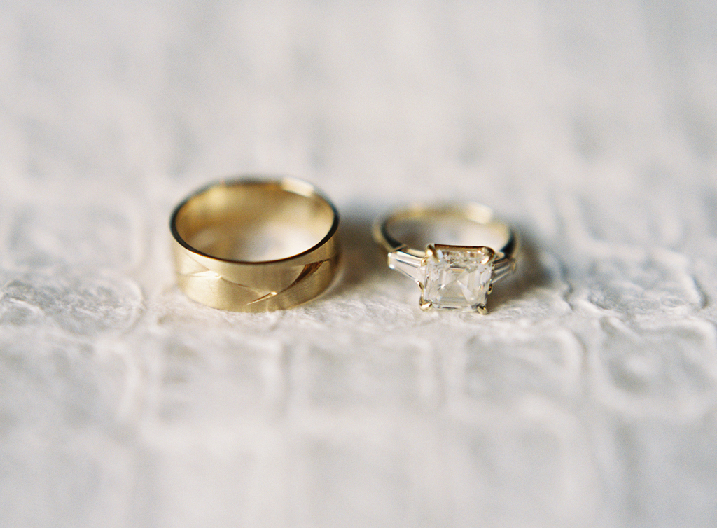 a film photograph, close up, of wedding rings.