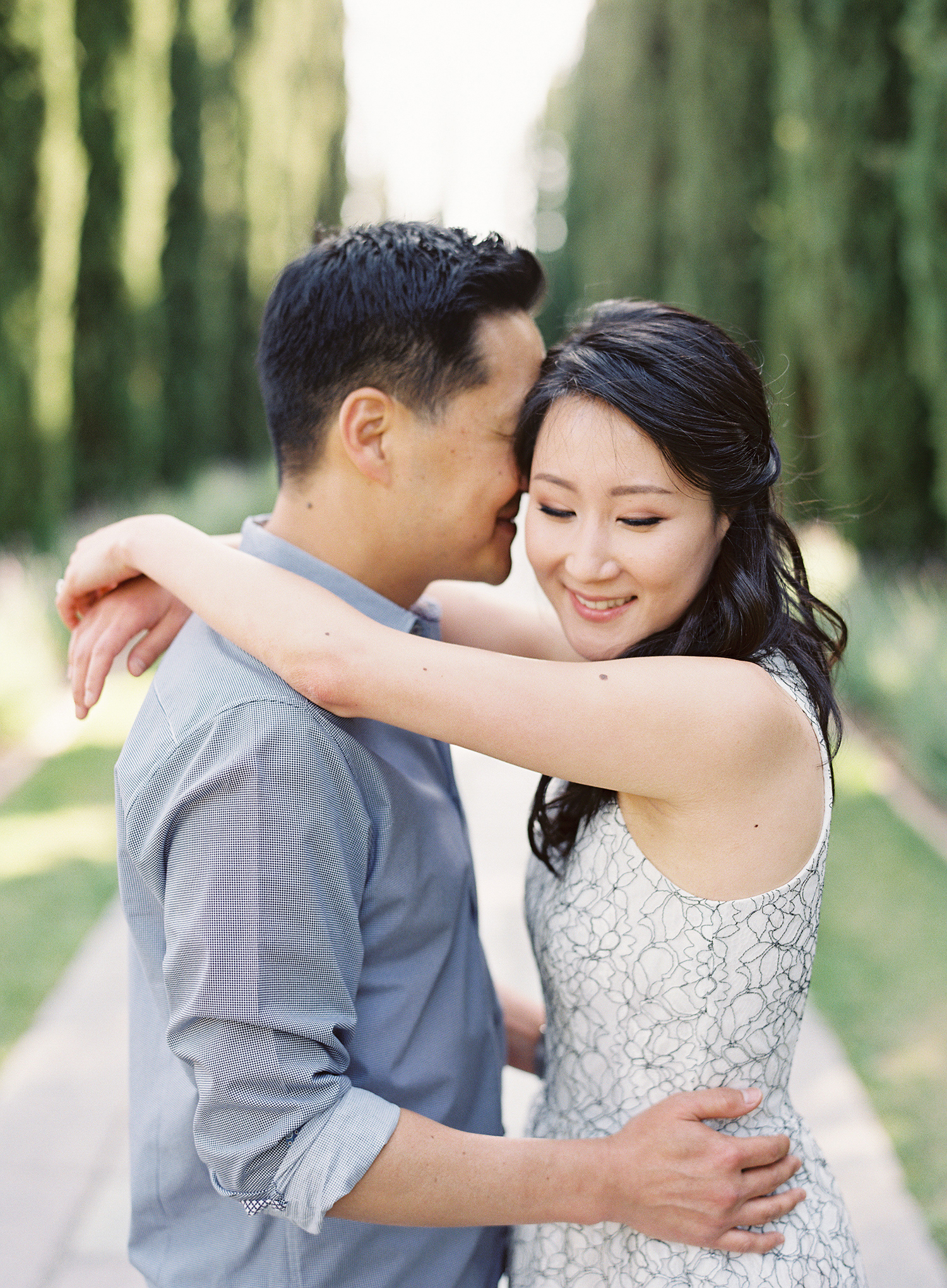 engagement session at greystone mansion in california photographed on film